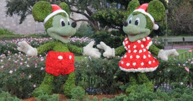 Micky and Minnie Mouse shaped bushes in Christmas outfits.