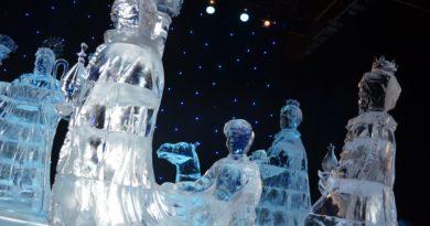 Indoor decorative ice sculptures