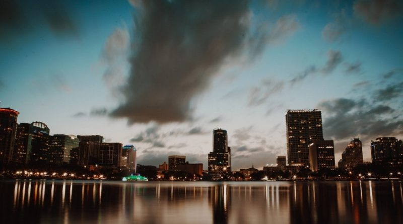 A beautiful landscape shot of downtown Orlando in the evening
