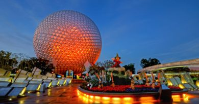 Epcot in Walt Disney World lit up in the evening