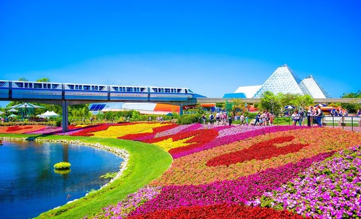 Flowers adorning Disney World's park during springtime