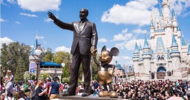 Statues of Walt Disney and Mickey Mouse at Disney World